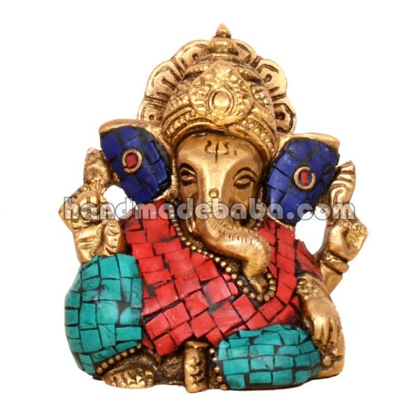 Buy ganesha statue in brass with stone work