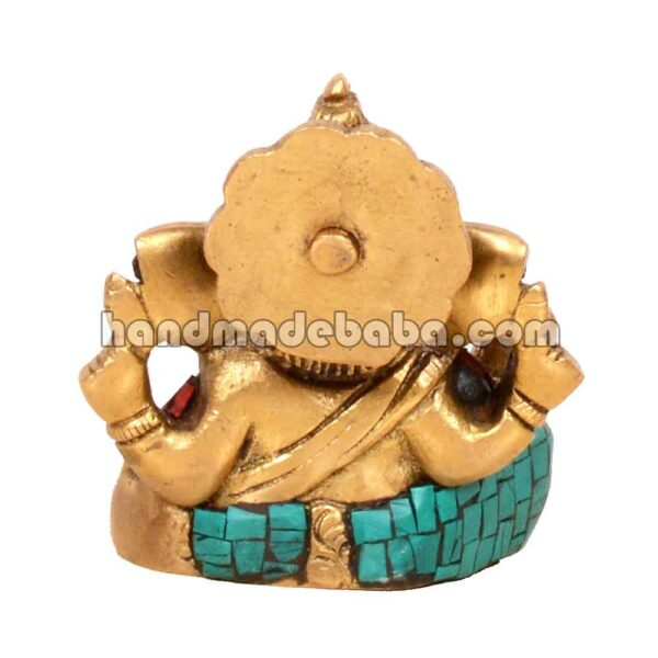 Buy ganesha statue in brass with stone work in india