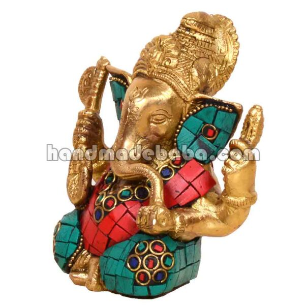 Buy Ganesha statue brass with stone work in india