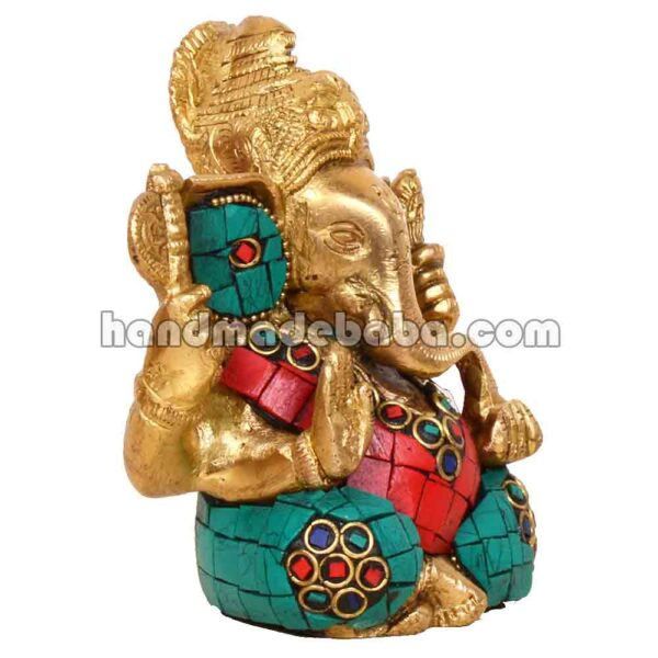 Buy Ganesha statue brass with stone work at low coast